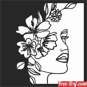 download Women's face with flowers free ready for cut