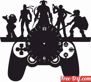 download Gaming PUBG wall vinyl clock free ready for cut