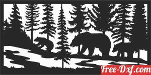download bears forest scene wall decor free ready for cut