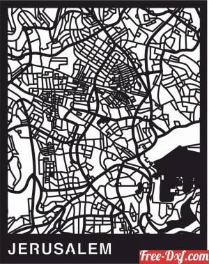 download Jerusalem Map cutmap Israel wall art free ready for cut
