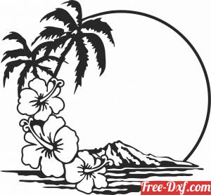 download palm floral scene mountain art free ready for cut