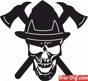 download Skull with Axe free ready for cut