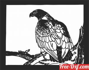 download eagle on branch design free ready for cut
