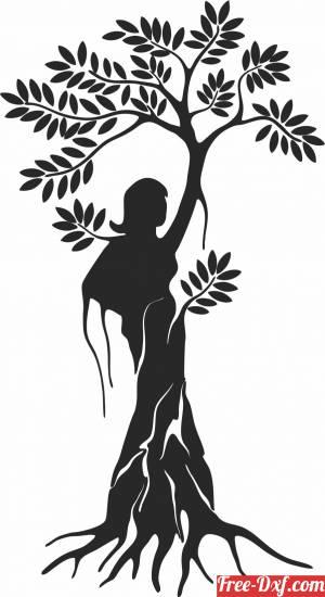 download Beautiful women tree wall decor free ready for cut