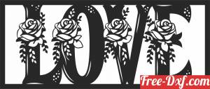 download love floral panel free ready for cut