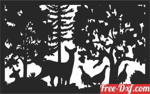 download deer peacock scene forest art free ready for cut