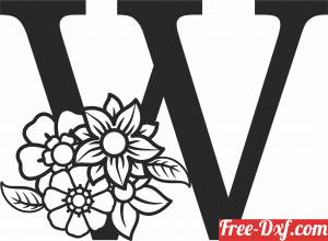 download Monogram Letter W with flowers free ready for cut