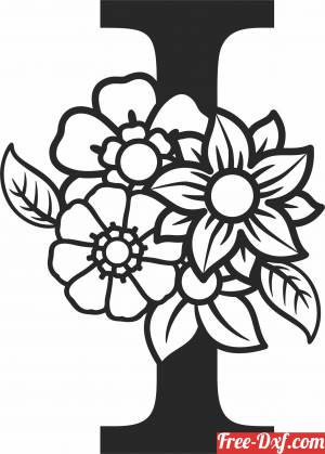 download Monogram Letter I with flowers free ready for cut
