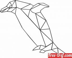 download Geometric Polygon penguin free ready for cut