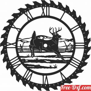 download deer sceen saw wall clock free ready for cut
