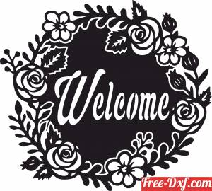 download Welcome floral Sign free ready for cut