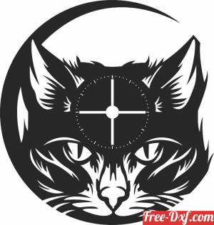 download Cat Face Vinyl Record Wall Clock free ready for cut