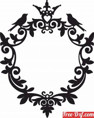 download Miror Frame floral design with bird free ready for cut