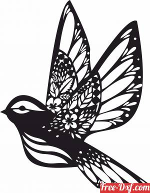 download Bird Floral flying wall decor Home Decoration free ready for cut