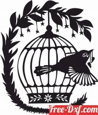 download Bird flower Cage free ready for cut