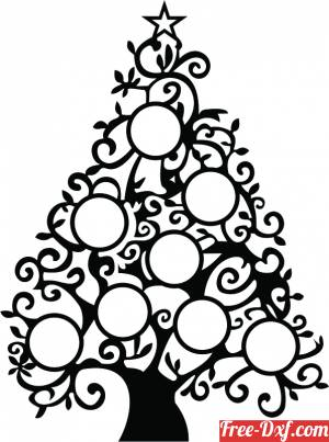 download Christmas tree with family pictures holder free ready for cut
