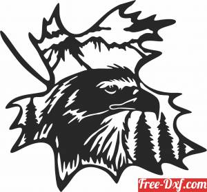 download Eagle on leaf scene free ready for cut
