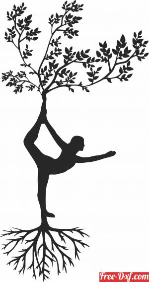 download Tree with Yoga women free ready for cut