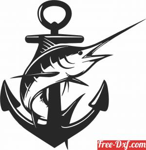 download Silhouette marlin wall decor fish free ready for cut