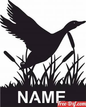 download Duck Bird scene Sign Personalized Name Sign free ready for cut