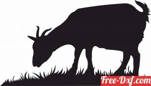 download goat silhouette eating grass free ready for cut
