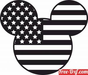 download Mickey Mouse USA Flag Disney free ready for cut