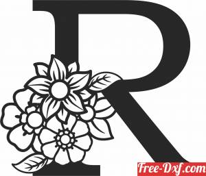 download Monogram Letter R with flowers free ready for cut