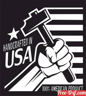 download Handcrafted in USA sign free ready for cut