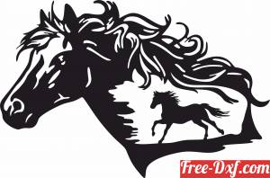 download Horse scene clipart free ready for cut