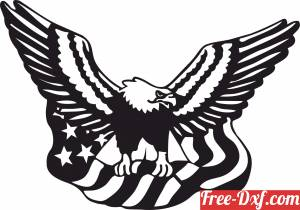 download eagle with USA flag free ready for cut