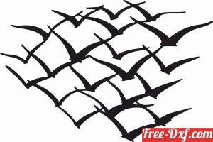 download murmuration group of birds flying free ready for cut