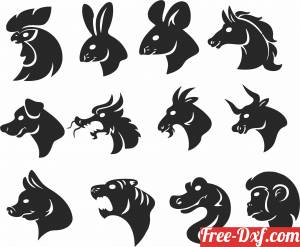 download animals faces free ready for cut
