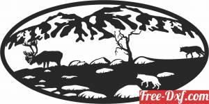 download wolves elk scene forest art free ready for cut