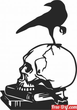 download Raven skull cliparts free ready for cut
