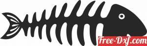 download Silhouette fish bone wall decor fish clipart free ready for cut
