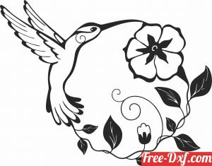 download Hummingbird Flowers wall decor free ready for cut