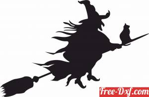 download Halloween Witch and her cat on a Broomstick flying free ready for cut