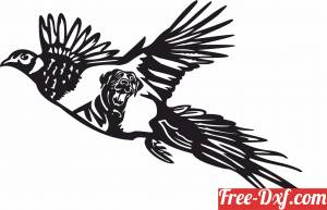 download Flying peacock scene with rottweiler wall art free ready for cut