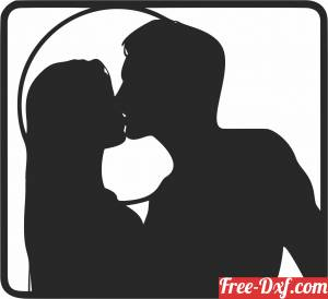 download couple Kissing  wall decor free ready for cut