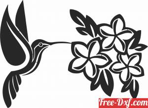 download Hummingbird with flowers free ready for cut