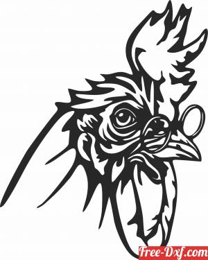 download Rooster with glass wall decor free ready for cut