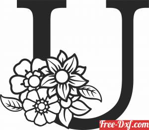 download Monogram Letter U with flowers free ready for cut