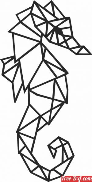 download Geometric Polygon seahorse free ready for cut