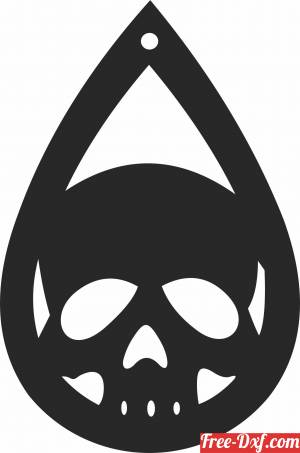 download Halloween skull ornament Silhouette free ready for cut