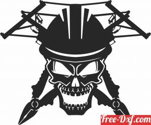 download Lineman Skull cliparts free ready for cut