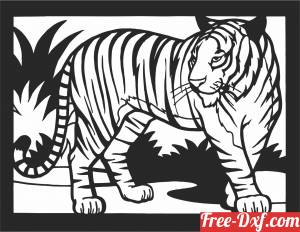 download tiger scene art wall decor free ready for cut