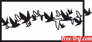 download murmuration group of birds flying wall art panel free ready for cut