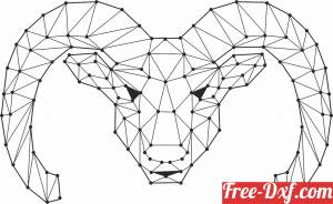 download Geometric Polygon sheep with horns Head free ready for cut