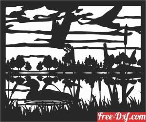 download duck scene art free ready for cut