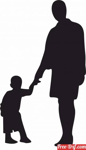 download Mother Son Silhouette free ready for cut